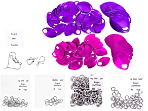 Scale Maille Project Supply Kit incl Silver Findings With Pink And Purple Scales