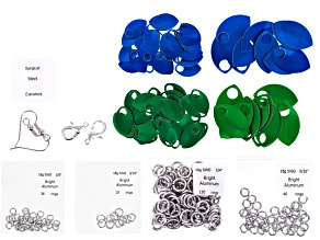 Scale Maille Project Supply Kit incl Silver Findings With Blue And Green Scales