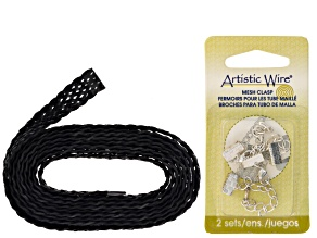 Black Leather Kit incl 9 Strand 18mm 2 Meters Total With 2 Sets Silver Tone Crimps
