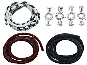 Set Of 3 Leather Kit Round 5mm Print Stitched Suede 3 Meters Total With 4 Slvr Tn Spring Ring Clasps