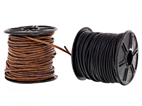 Natural Leather Cord Set of 2 Round 1.5mm Appx 10M Each In Natural Black & Natural Light Brown