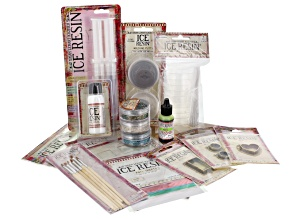 Ice Resin ™ Essentials Kit 16pcs incl Plunger, Tint, Foil Sheets, Glass Glitter, Templates & More