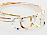 Flat Loop Neck Wire Set Of 4 In Gold Tone, Silver Tone & Rose Gold Tone