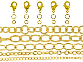 Gold Tone Assorted Fancy Chain Kit in 8
