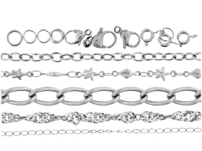 Stainless Steel 5pc Chain &Component Kit incl Diam Cut Flat, Star, Asst Oval Chain,Clasps&Jump Rings