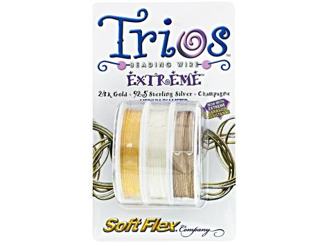 Extreme Trios Medium In Gold Plated, Sterling Plated, Champagne Color Beading Wire appx 30' Total