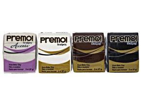 Premo Clay Supply Kit incl 2oz Blocks in 4 Basic Colors: Black, White, Burnt Umber & Pearl Color