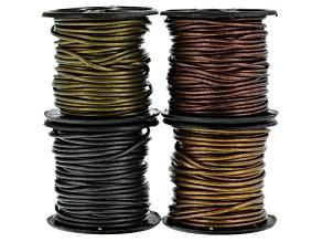 Mettallic Leather Cord Round 1.5mm in Gauriya, Kansa, Tamba & Gunmetal Appx 10m Each
