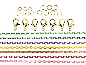 "Diamond Cut Chain Set Of 7 Assorted Colors Appx 40"" Each Includes Clasps & Jump Rings"