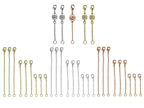 Chain Extender Kit in 3 Tones Includes Extenders And Magnetic Clasps 32 Pieces Total