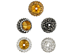 Crystal End Cap Set Of 5 Pieces in Black, Clear, And Gold Color