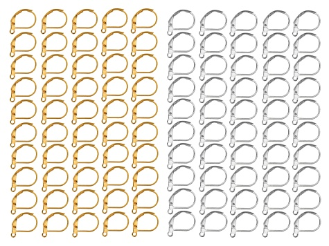 Lever Back Earring Base Kit in Silver Tone & Gold Tone includes Appx 50 Pieces Each