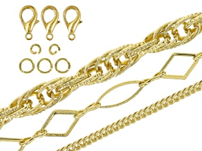 Necklace Chain Supply Kit Gold Tone incl 3 (Appx 40