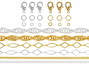 Chain Supply Kit Silver Tone & Gold Tone incl 6 Pieces Fancy Chain Styles (Appx 40