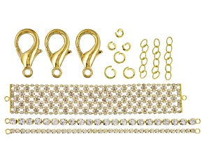 Assorted Bracelet Crystal Chain Set in Gold Tone With Findings