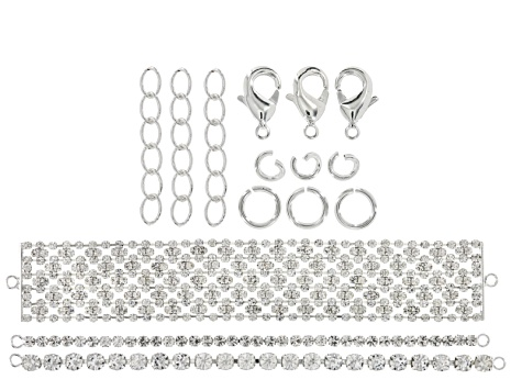 Assorted Bracelet Crystal Chain Set in Silver Tone With Findings