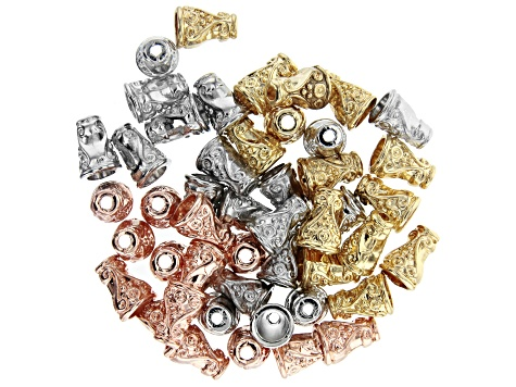 Assorted Findings And Components Kit In 6 Designs in Silver Tone, Gold Tone, & Rose Tone Appx 300pcs