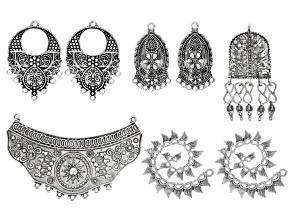 Old World Style Focal Set in Antique Silver Tone incl 8 Pieces