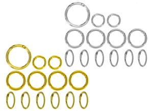 Spring Ring Clasp Set Of 3 Round Sizes And One Oval Style In Gold Tone & Silver Tone 26 Pieces Total