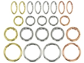 Spring Ring Clasp Set Of 3 Round Sizes And One Oval Style In 3 Tones appx 22 pieces