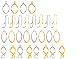 Earring Component Kit in Four Assorted Styles in Silver Tone & Gold Tone incl 28 Pieces (14 Pairs)