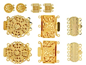 Fancy Filigree Box Clasp Set Of 10 Pieces in 5 Assorted Styles in Gold Tone