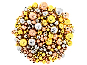 Round Bead Bag Incl 2, 4, 6, 8, 10 & 12mm In Gold Tone, Silver Tone & Rose Tone Brass Appx 1 Oz Each