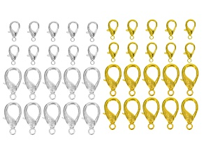 Lobster Claw Clasp 40 Piece Set in Silver Tone & Gold Tone incl 9x18mm And 16x32mm 10 Pcs Each