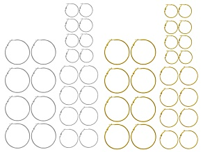 Round Hoop Earring Set Of 24 Pairs in Gold Tone & Silver Tone Assorted Sizes