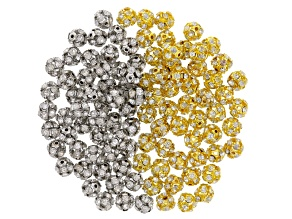 Accessory Bead Set In Gold Tone & Silver Tone With White Crystals appx 10mm Round 100 Pieces Total