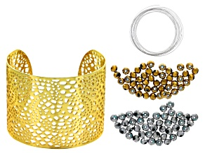 Cuff Bracelet And Glass Bead Supply With Project Kit And instructions