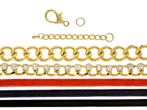 Heavy Chain & Crystal Link With Ribbon Supply And Project Kit With instructions