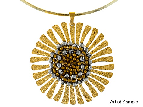 Beaded Sunflower Pendant Supply And Project Kit With instructions