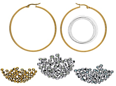 Beaded Hoop Earrings Supply And Project Kit With instructions