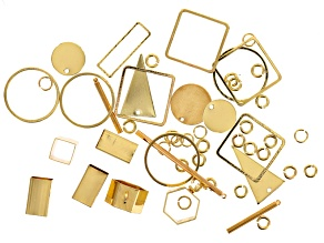 Geometric Earring Component Kit in Gold Tone includes Jump Rings Appx 53 Pieces