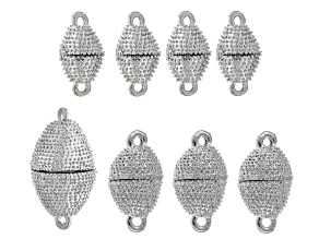 Oval Magnetic Clasp Kit in Silver Tone includes Assorted Sizes 8 Pieces Total