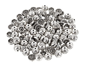 Assorted Metal Bead Set In Antique Silver Tone Includes 3 Styles 120 Pieces Total