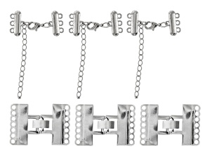 Clasp Kit 6 Pieces in Silver Tone incl Trigger Clasp And Extender Clasp