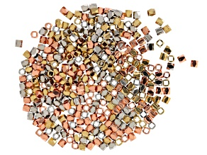 Metal Bead Components Square Shape In Silver Tone, Gold Tone & Rose Gold Tone 375 Pieces Total