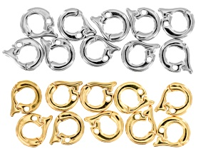 Pendant Bail Enhancer In Silver Tone & Gold Tone appx 9x10mm 20 Pieces Total 10 in each tone