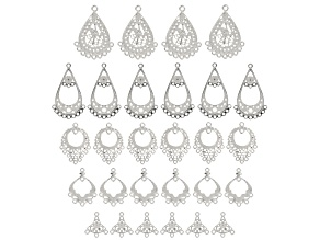 Chandelier Component Kit In Antique Silver Tone with 28 Pieces Total In Assorted Shapes & Sizes