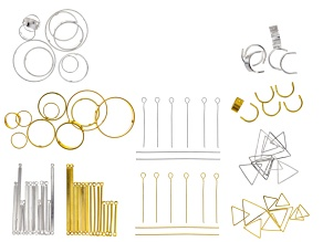 Geometric Accessories Set in Gold  Tone & Silver Tone Appx 100 Pieces Total