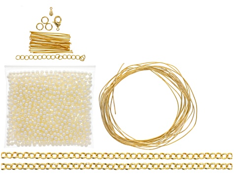 Statement Necklace Supply Kit includes Pearl Simulant, Chain, And Headpins