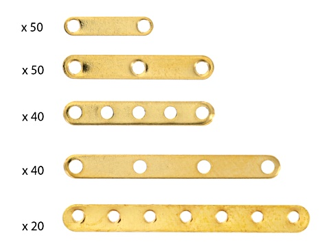 Spacer Bar Kit appx 400 pieces Total In Gold Tone & Silver Tone In Assorted Sizes