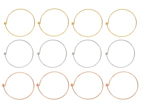 Bracelet Base Kit Set Of 12: 4 Gold Tone, 4 Silver Tone & 4 Rose Tone