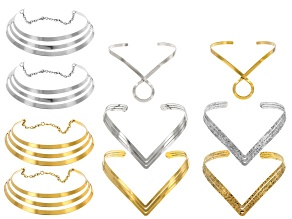 10 Piece Necklace Set In 3 Designs In Gold Tone & Silver Tone