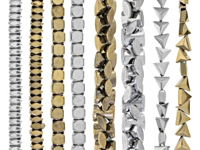 Hematine Bead Strand Set/8 Incl antq Gold Tone & antq Silver Tone Strands In Assorted Shapes & sizes