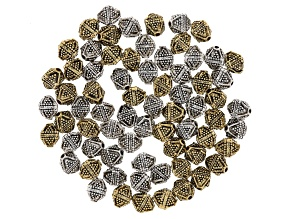 Ornate Triangular Texture Beads In Antique Silver Tone & Antique Gold Tone Appx 70 Pieces Total