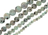 Sodalite & Light Green Mixed Ornamental Stone Bead Strand Set of 8 appx 15-16