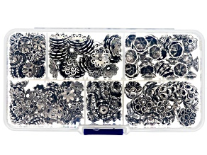 Floral Bead Cap Kit In Antique Silver Tone in 6 Styles with Organizer appx 260 pieces total